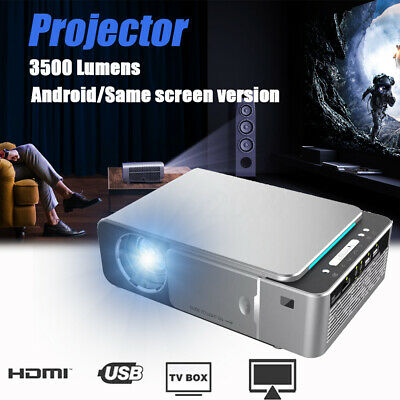 Android 6.0 4K 1080p HD Wifi LED Projector Home Theater Cinema 3D Video