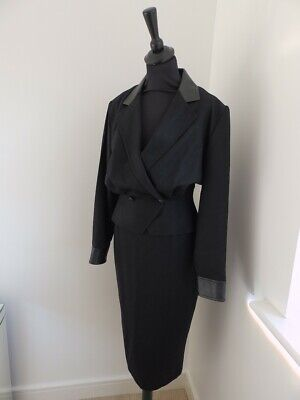 Vintage Michel Amber black leather and wool pencil skirt suit Size 10 / 12
