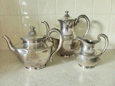 1930's Superior Plate Teapot Coffee & Creamer, Silver Plated, Distressed, Rustic