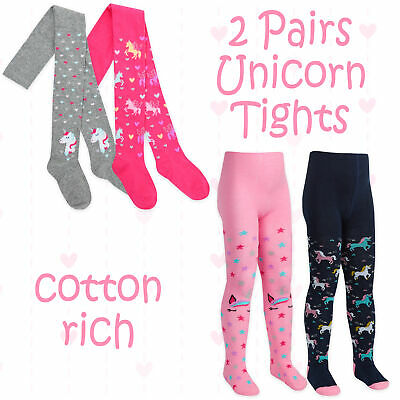 2 Pairs Kids Girls Tights Soft Cotton Rich Unicorn Design Pink Grey 2-7 Years UK