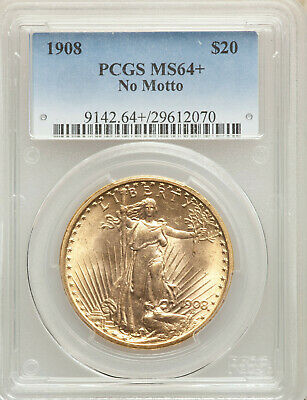 1908 NM No Motto $20 St Gaudens PCGS MS64+ Philadelphia Gold Double Eagle!!!