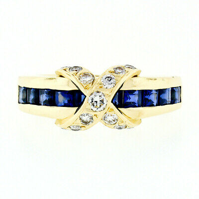 Tiffany & Co. 18k Gold 1.90ctw Square Channel Set Sapphire & Diamond X Band Ring