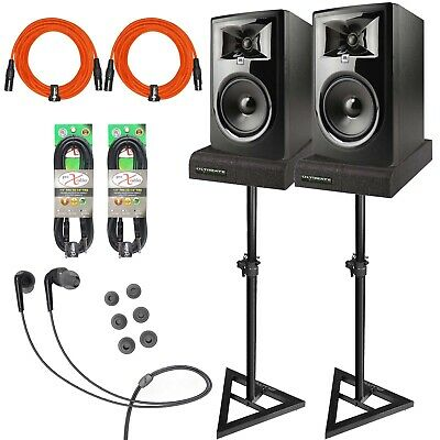 """JBL 306P MkII 6.5"""" Powered Active Studio Monitor Speakers w Stands TRS Cables"""