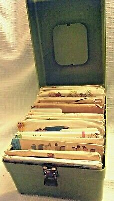 Antique Sewing-Embroider Transfers-Patterns In Green Tote