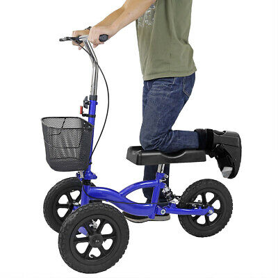 Clevr All Terrain Medical Foldable Steerable Knee Walker with Basket, Blue