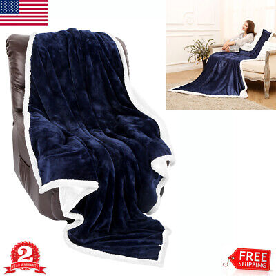 """Throw Sherpa Flannel Fleece Bed Couch Blanket Reversible Soft Plush 60x80"""" Blue"""