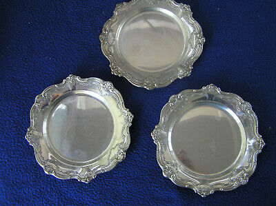 Three new Chantilly  by Gorham sterling silver bread plates 297 g