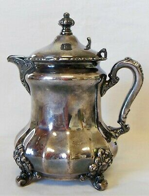 Vintage Poole Silver Co Silverplate Footed Syrup Pitcher Quadrupleplate #923