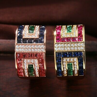 Gorgeous Women Wedding Rings 18k Yellow Gold Plated Cubic Zircon Size 6-10