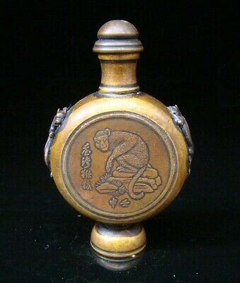 Collectible Handmade Carved Statue Copper Brass Snuff Bottles Monkey