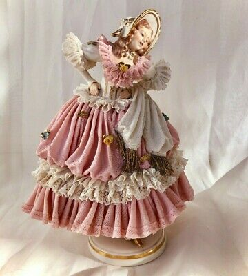 DRESDEN LACE Volkstedt Lady Dancer Large Porcelain Figurine Germany c1905