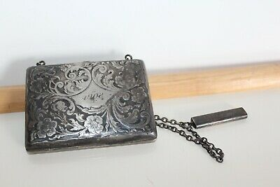 Antique Sterling Silver Cigarette Case on Chain w/Match Holder: 88 grams, 1908