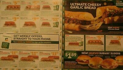 SUBWAY RESTAURANT Food Discount Coupons - 12 COUPONS-  Expire 12/29/2019