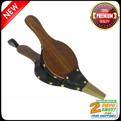 """Timoo Mini Fireplace Bellows 12 X 4.92"""" Wood Air Bellows With Hanging Leather"""