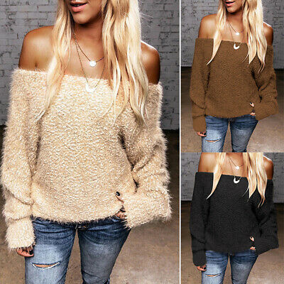 Womens Off Shoulder Loose Fluffy Sweater Sweatshirt Jumper Tops Pullover Casual