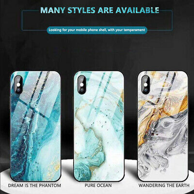 Case For Apple iPhone X XS XR Max 10 Luxury Marble Tempered Glass Cover