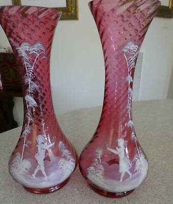 Antique Mary Gregory Glass: Pair Of  Victorian Cranberry Vases