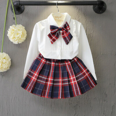 2Pcs/Baby Girl Pleated Plaid Skirt+Long Sleeve Bowknot Shirt Suit Set 3-8 Years