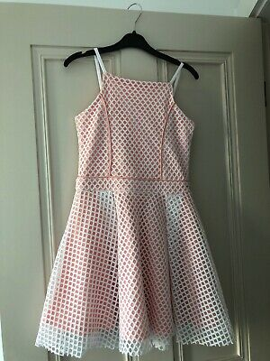 Gorgeous River Island Party Dress Peach/white Age 9-10