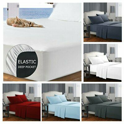 Ultra Soft 4ps Flat & Fitted Sheet Set Single/Twins/Queen/King Size Bed New
