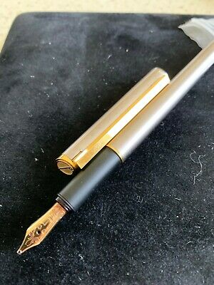 DUNHILL Gemline Silver/Gold 14kt Medium Nib 585 Fountain Pen Germany
