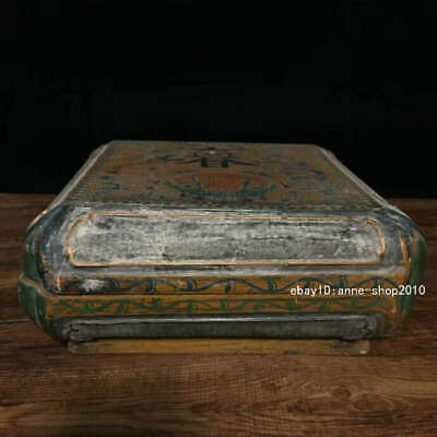 25.5cm Marked China Old Lacquer ware Wood Carving Dragon Storage box AHHH