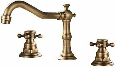 Widespread Bathroom Basin Faucet Deck Mount Waterfall Mixer Tap Roman Copper
