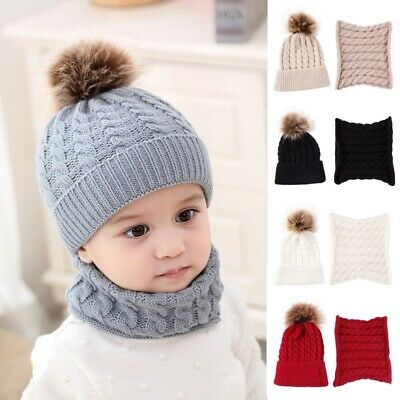 Baby Winter Warm Knitted Crochet Beanie Hat + Scarf Set Toddler Kids Cap Fashion