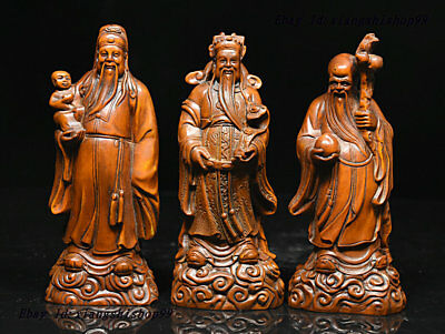 Chinese OLD Boxwood Wood Carved Longevity God Fu Lu Shou Figurine Statue Set