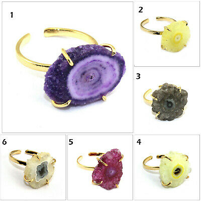 Natural Solar Quartz Gold Plated Handmade Prong Setting Adjustable Rings
