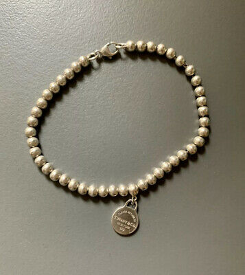 Tiffany & Co Sterling Silver Small Bead Round Tag Bracelet