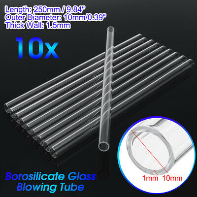 10Pcs 250mm OD 10mm 1.5mm Thick Wall Borosilicate Glass Blowing Lab Tube New