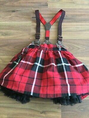 Baby girls Next red and black checked skirt with black net underskirt and braces