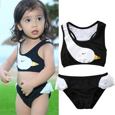 Baby Girls Summer Cute Swan Print Black Swimsuit Bikini Swimwear Beachwear