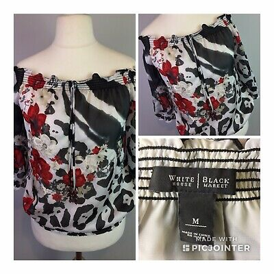 Womens off the shoulder sheer floral top by White House Black Market UK Size M