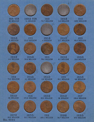 Partial Set - Lincoln Cent Collection in Whitman Folder 1909 - 1940