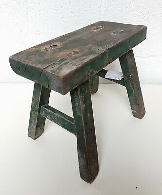 Green Antique Farmhouse Country House Kitchen Stool Milking Stool