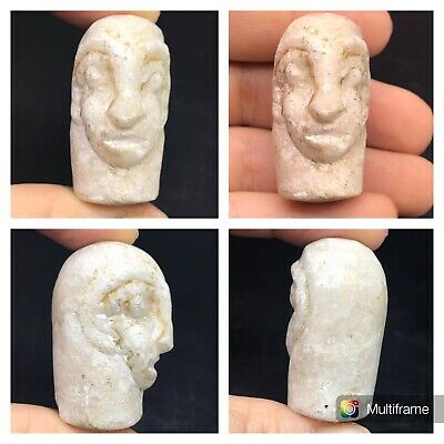 Rare Antique Old Bactrian Soft Stone Head Statue