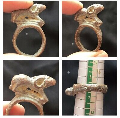 wonderful vintage very old bronze ram on top unique ring