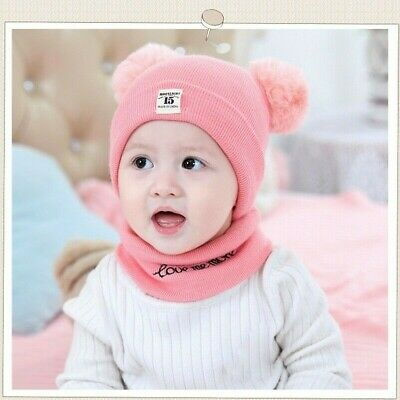 Toddler Kids Girl Boy Baby Winter Crochet Knit Hat Beanie Cap With Scarf