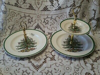 Spode Christmas Tree 1, 2 or 3 Tier Tray Serving Dish Green Trim Made in England