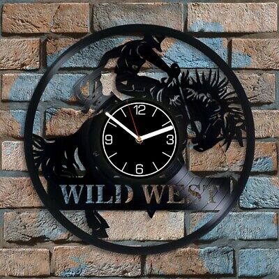 Cowboy Vinyl Record Wall Clock Wild West Wall Art Christmas Gift for Father