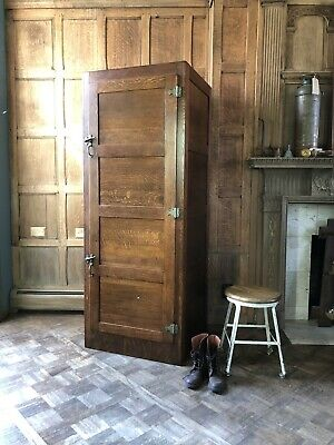 Antique Wood Locker, Large Oak Wardrobe, Mudroom Lockers, Antique Closet