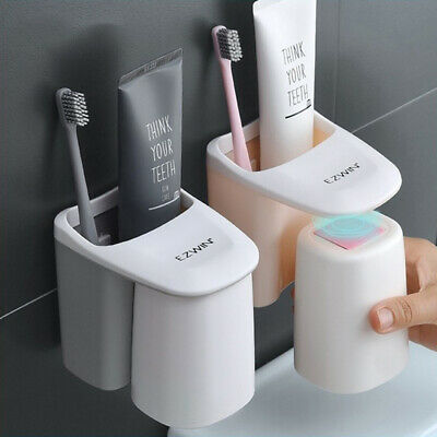Magnetic Wall Mount Gargle Cup Rack Lovers Gift Family Set Toothbrush Holder /US