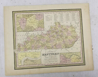 Antique Hand Colored Lithograph Map Kentucky Augustus Mitchell Philadelphia