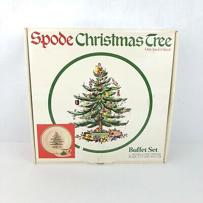 Spode Christmas Tree 3 Piece Buffet China Set - Made in England Plate Cup Saucer