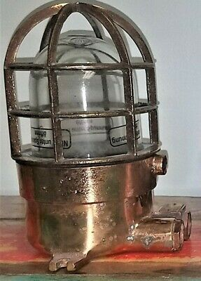 Authentic Ship Salvaged and Restored Solid Brass WISKA Post or Ceiling Light