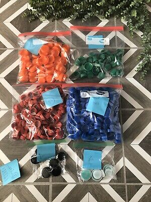 Lot Of 586 Plastic Bottle Caps For Crafting Red Green Blue Orange Black Clear