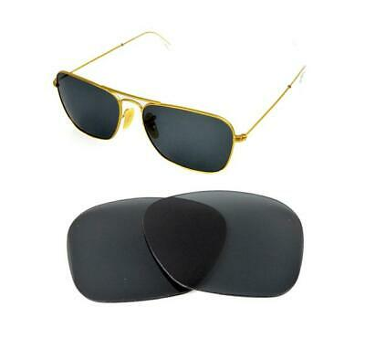 NEW POLARIZED REPLACEMENT BLACK LENS FIT RAY BAN CARAVAN 3136 58mm SUNGLASSES