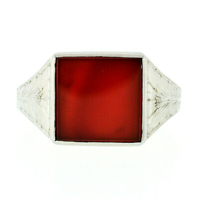 Antique Art Deco Mens 18k White Gold Bezel Set Square Carnelian Etched Band Ring